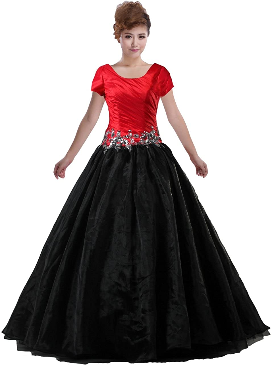 800faaa6ce7 Amazon.com  Unbranded  ANTS Women s Modest Long Prom Dresses Short Sleeve Evening  Gowns  Clothing