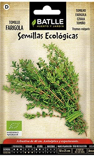 Semillas Ecológicas Aromáticas - Tomillo - ECO - Batlle: Amazon.es ...