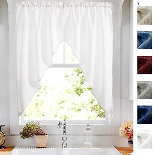 White Swags Valance Semi Sheer Short Curtains Kitchen Casual Weave Cafe Curtains Half Window Treatments 2 Panels 36 L