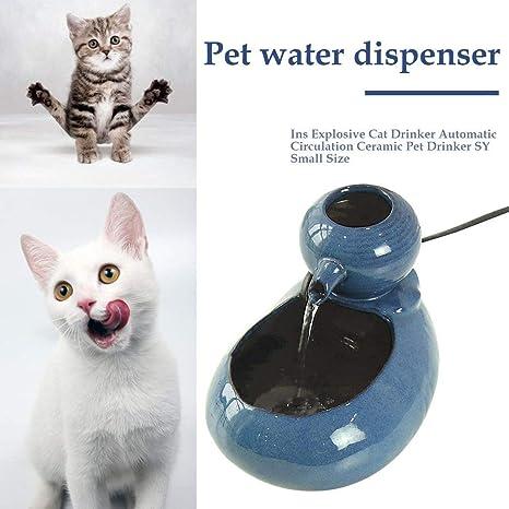 Bebedero Gatos Fuente de Agua para Mascotas de cerámica ...