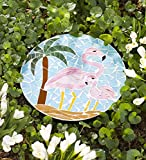 Outdoor Decorative Flamingo Mosaic Round Stepping Stone Sturdy Iron and Glass Construction Tropical Yard Art or Wall Decor 12 Dia. x .75 H
