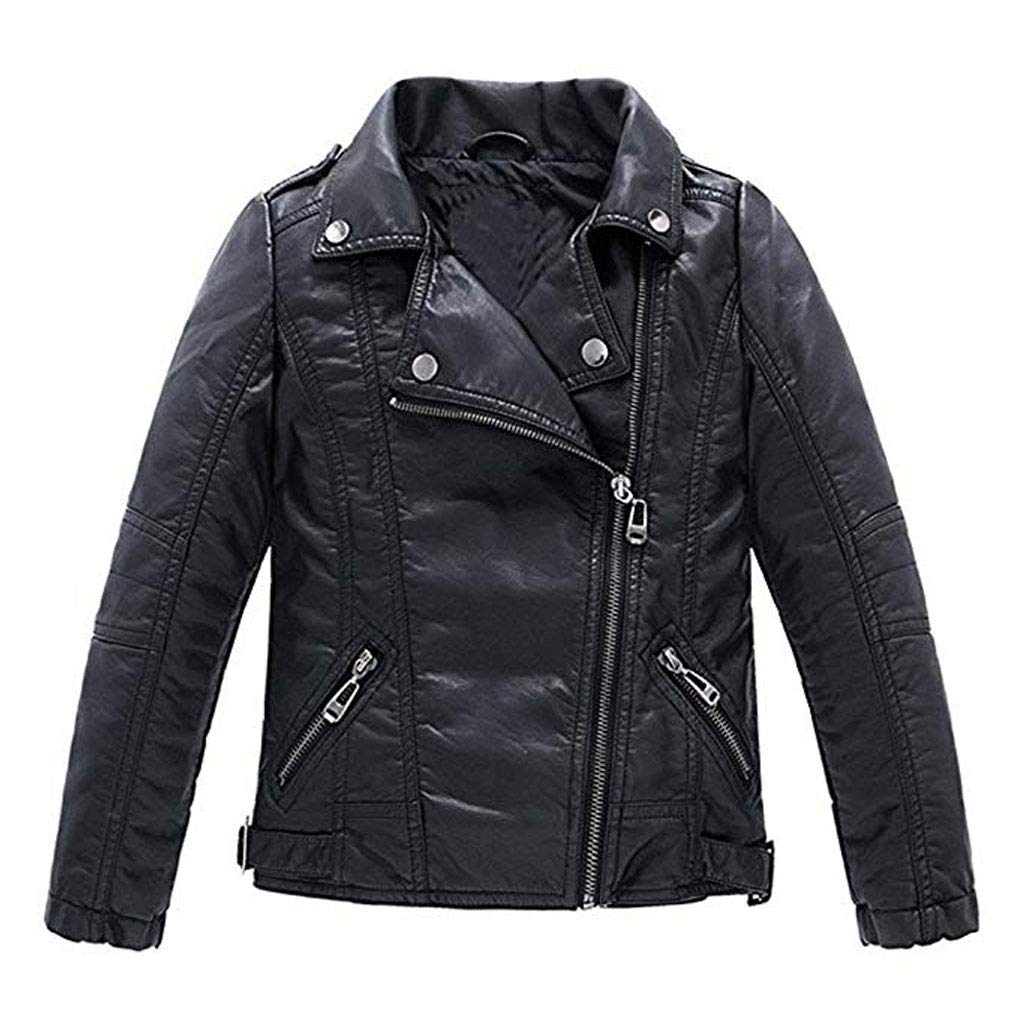 Meeyou Children's Motorcycle Leather Jacket Faux Leather Coat for Boys Girls