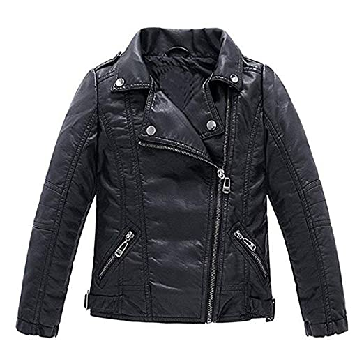cd5361680 Meeyou Children's Motorcycle Leather Jacket, Faux Leather Coat for  Boys/Girls
