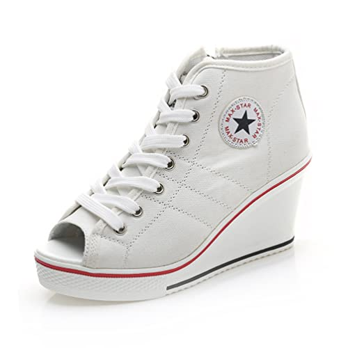 JRenok Baskets Mode en Toile Talon Compensé 8 cm Sandales à Bout Ouvert Chaussures de Bouche de Poisson Blanc 37 oHeSPZKEz