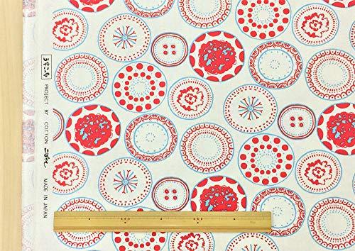 北欧風 生地 レッド ボタニカルプレート 水玉 布 布地 手芸 綿100%のキャンバス生地【1m単位】の商品画像
