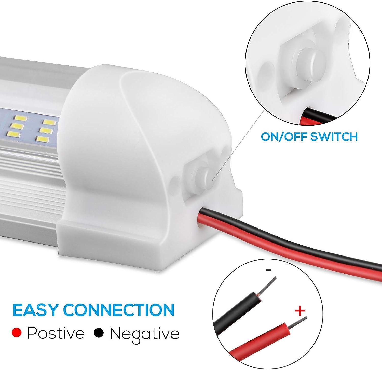 Innenbeleuchtung f/ür Wohnmobile f/ür Wohnmobile mit LKW-Wohnmobil LED-Innenlichtleiste 2 PCS 108LED 12-V-Universal-Wei/ßlichtleiste mit EIN // AUS-Schalter