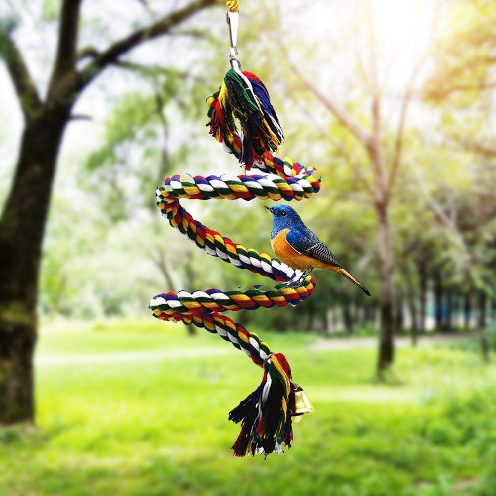 Miju Bird Rope Bungee Toy With Bell Cotton Parrot Spiral Swing Climbing Cage Standing Perch For Birds Budgies Parakeets cool there custody