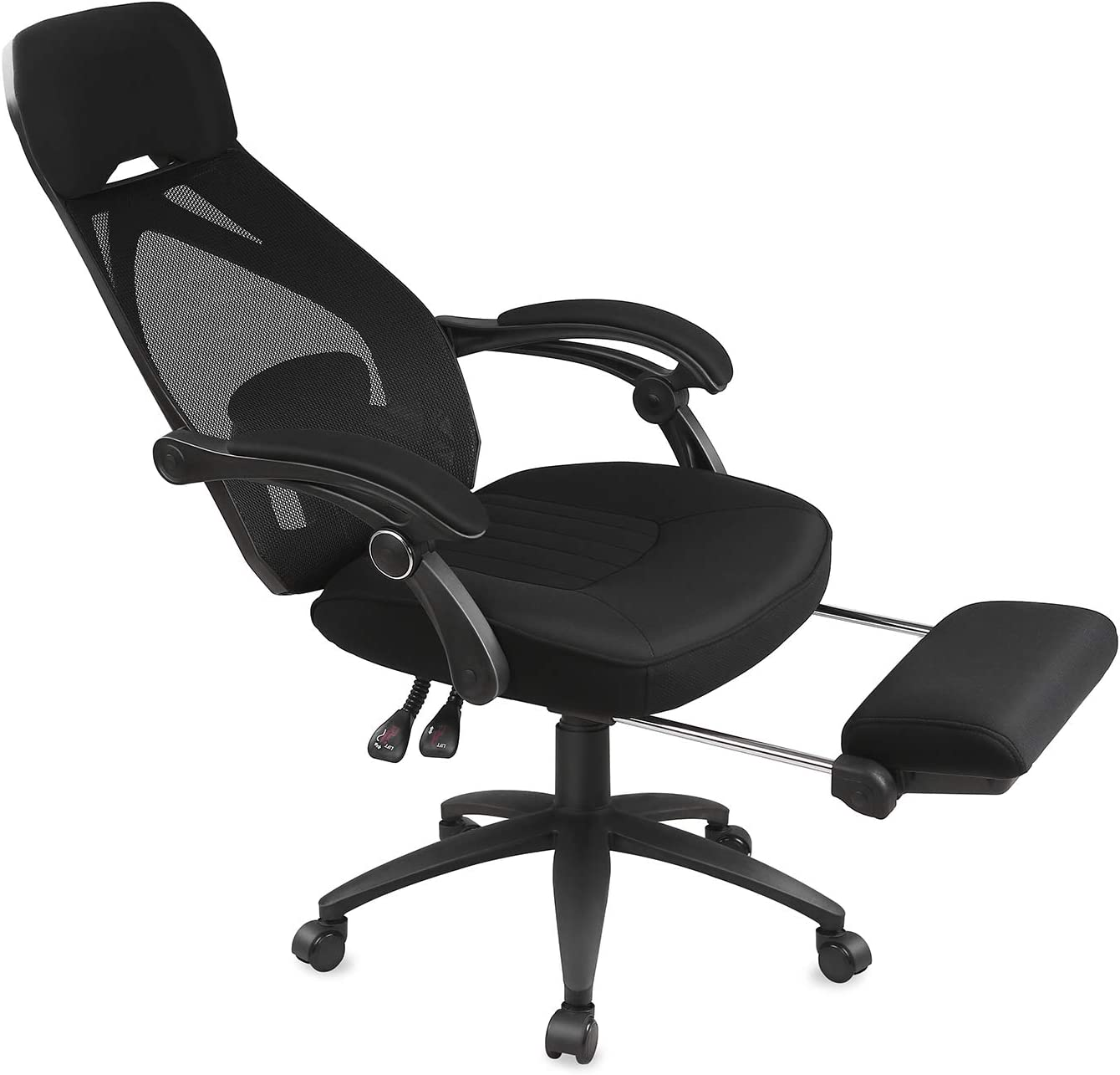 Devaise Ergonomics Recliner Office Chair High Back Mesh Computer Desk Chair With Adjustable Lumbar And Footrest