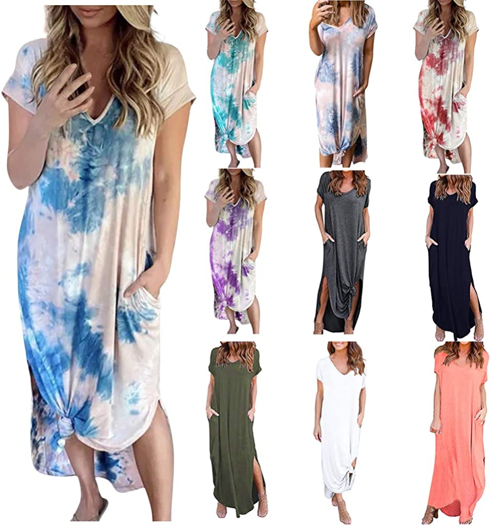 New Stylish Women Short Sleeves Tie Dye Print Casual Loose Cocktail Party Dress