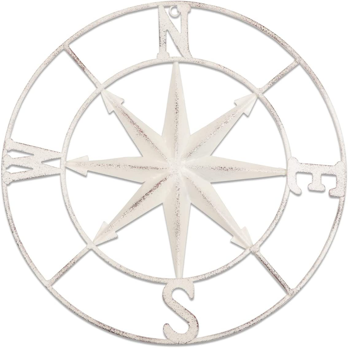 "YiYa 11.8"" Distressed Metal Compass Mural Decoration Nautical Decoration Bedroom Living Room Garden Office Wall Hanging Beach Theme Home Decoration (White)"