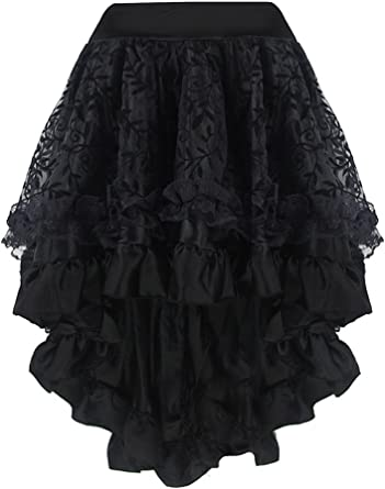 JapanAttitude Falda Negra en Satin Recubierto de Tul de diseño ...