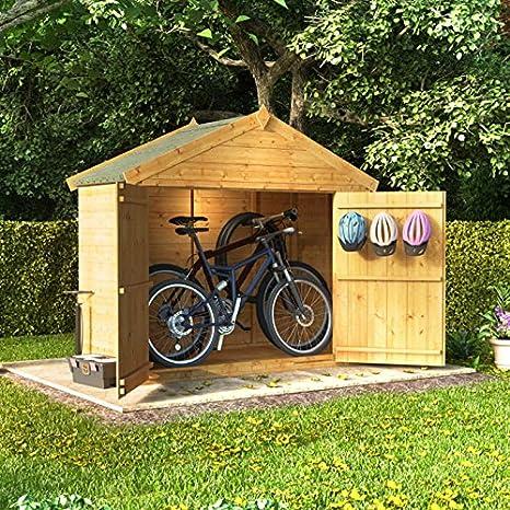 3 x 6 la lengua y Groove de madera Apex bicicleta almacenamiento doble puerta techo fieltro tienda cobertizo - 3 ftx6ft: Amazon.es: Jardín