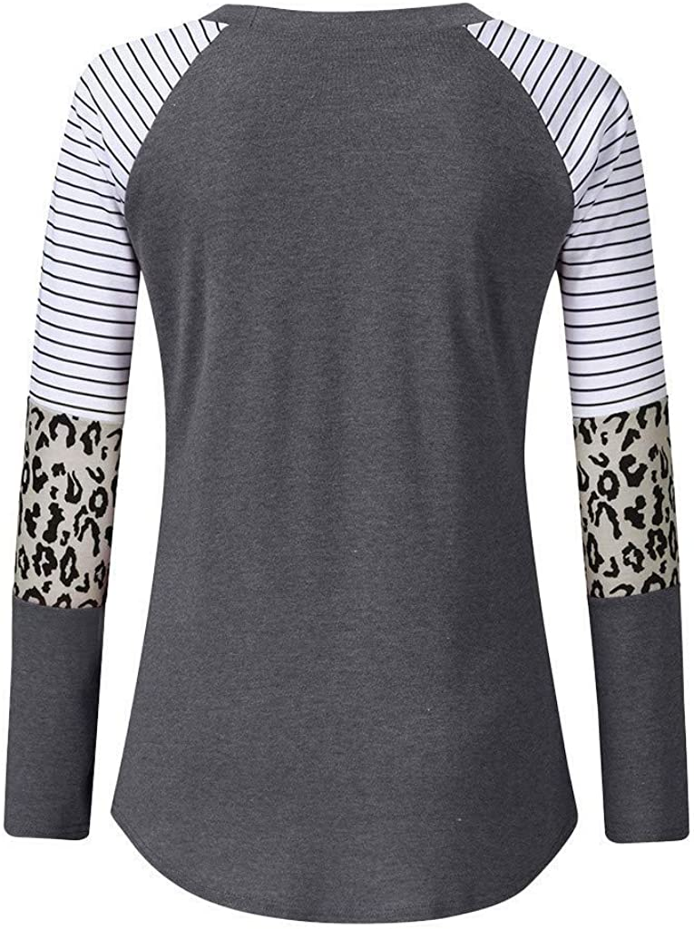 Vedolay Tops for Women Work Casual Womens Long Sleeve Top Color Block Tunics Elegant Leopard Shirts