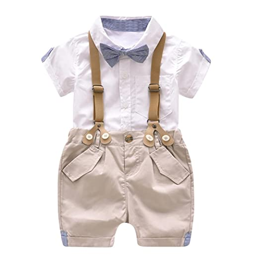 7cd47fbd Amazon.com: Baby Boys Gentleman Outfits Suits, Infant Short Sleeve  Shirt+Bib Pants+Bow Tie Overalls Clothes Set: Clothing