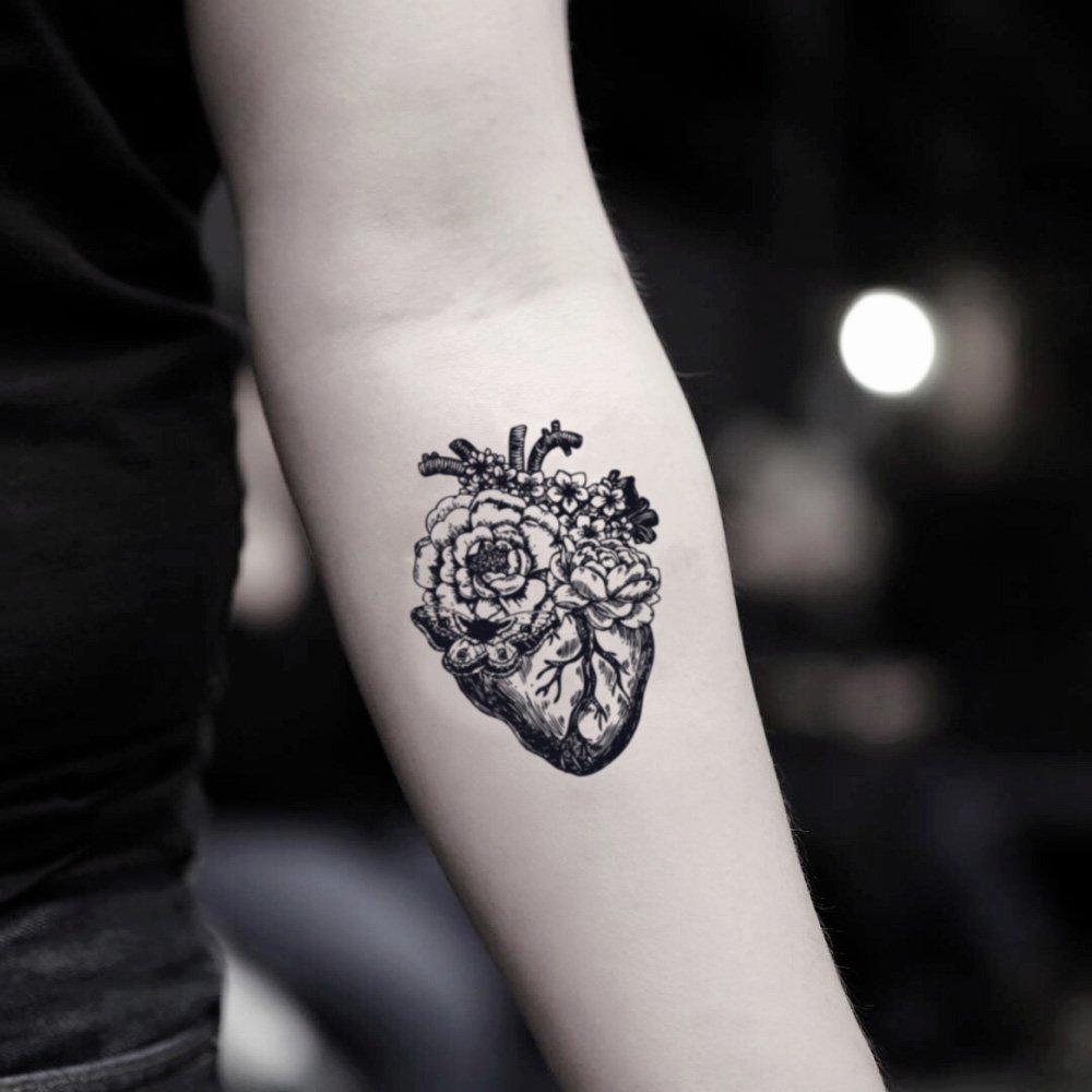 Tatuaje Temporal de Flor anatómica del corazón (2 Piezas) - www ...