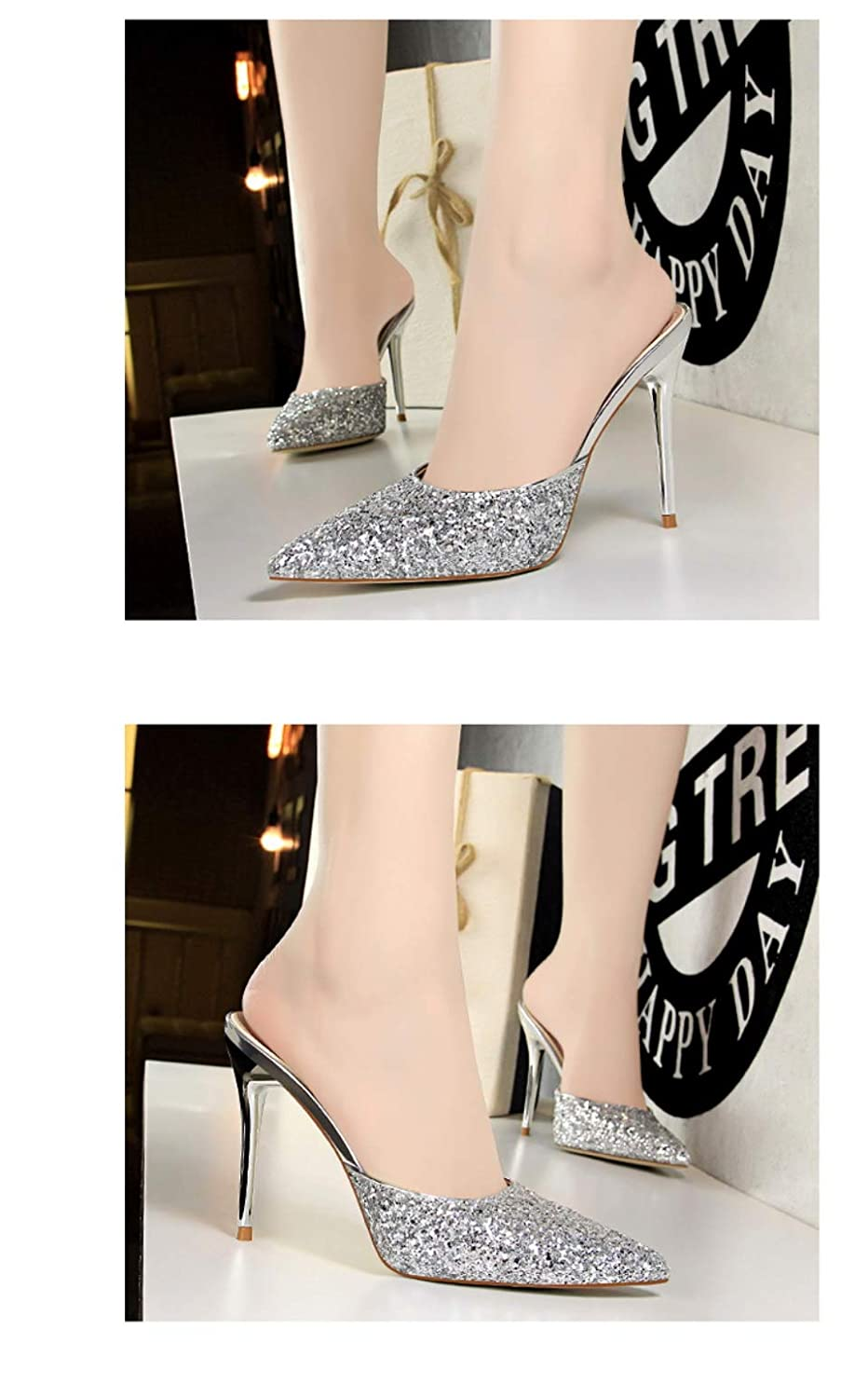 ZHEYU Women High Heels Wedding Pumps Pointed Toe Casual Female Shoes Ankle Strap Thin Heels Shoe New Plus Size