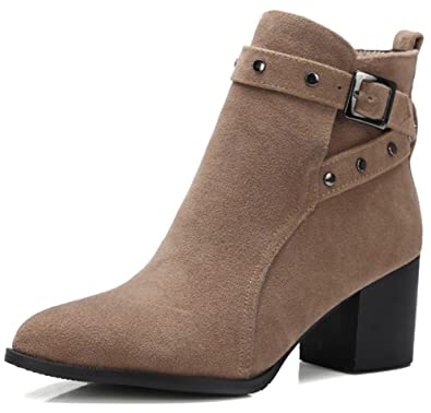 Women's Sexy Faux Suede Studded Rivets Buckle Strap Pointed Toe Booties Block Mid Heel Slip on Short Ankle Boots