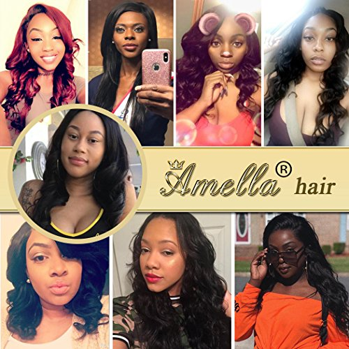 Amella Hair Brazilian Virgin Body Wave Hair 3 Bundles with Three Part Closure (14 16 18+12,Natural Black) 8A 100% Unprocessed Brazilian Body Wave Human Hair Weft with Lace Closure Brazilian Body Wave by Amella (Image #6)