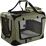 "Lightweight Fabric Pet Carrier Crate with Fleece Mat and Food Bag - Extra Large (32 x 23 x 22"") - Green"