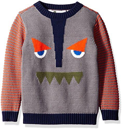 (Petit Lem Boys' Little Funny Face Knit Sweater, Gray, 6/7)