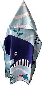 COZUMO Toddler Hooded Beach Bath Towel Wrap – Baby Shark Soft Beach Towel Swim Pool Coverup Poncho Cape for Boys Kids Children Gift, 1-7 Years Old Bath Robe (Shark-2)