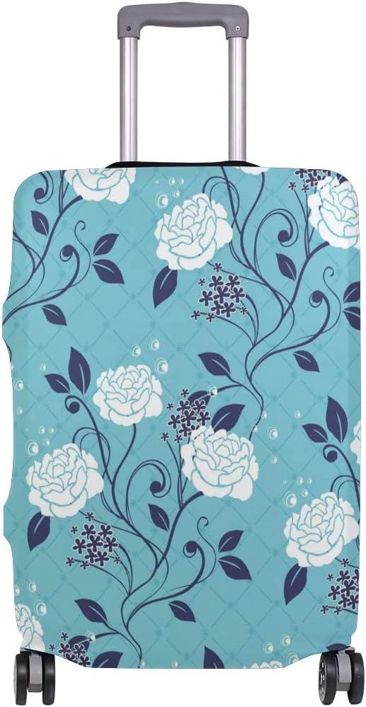 MALPLENA Blue Rose Flowers Luggage Protector Suitcase Cover