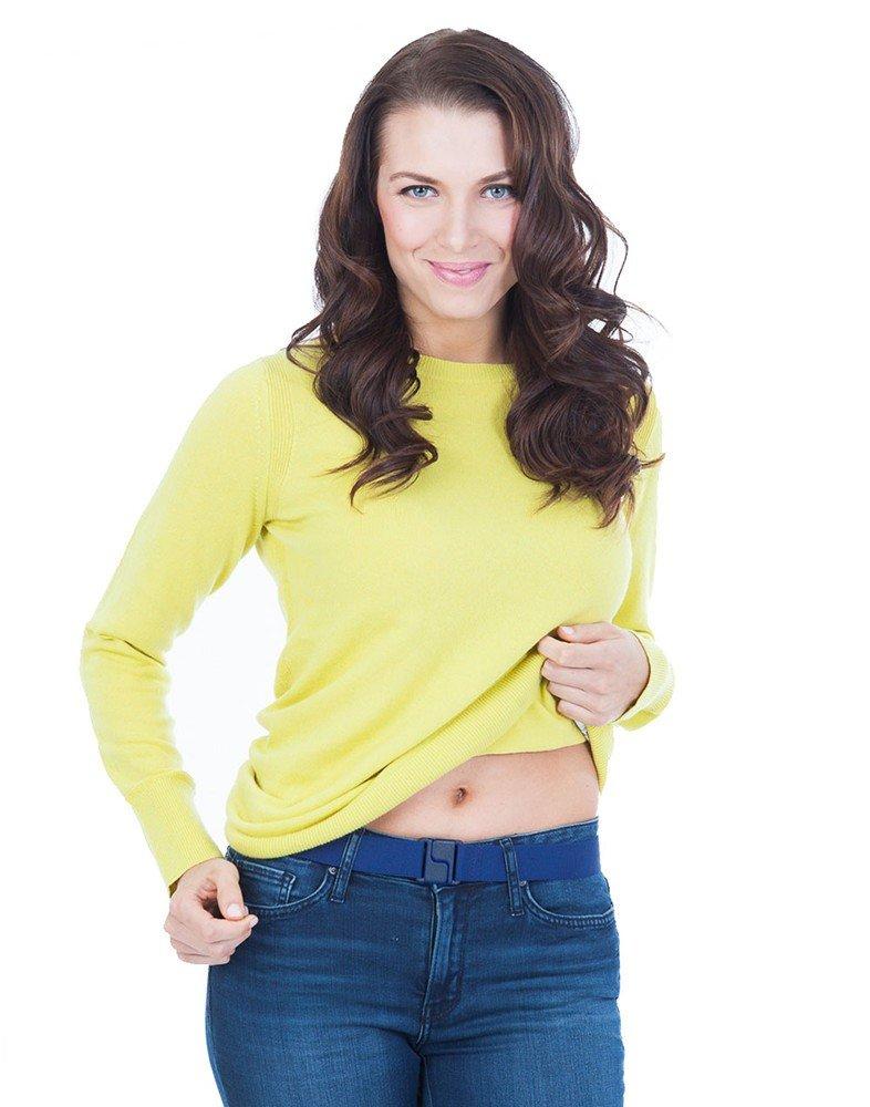 Invisibelt No Show Women's Stretch Belt, Adjustable Flat Belt,One Size (Denim)