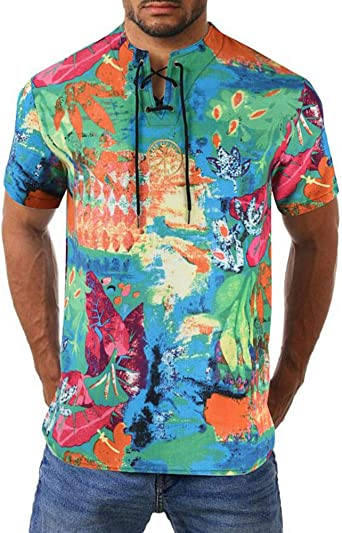 Hombres Cuello Redondo Linaza Camisa Bordado Impresión Cobertura Manga Corta Camisa Camiseta, 9 Colores M-XXXXL: Amazon.es: Ropa y accesorios
