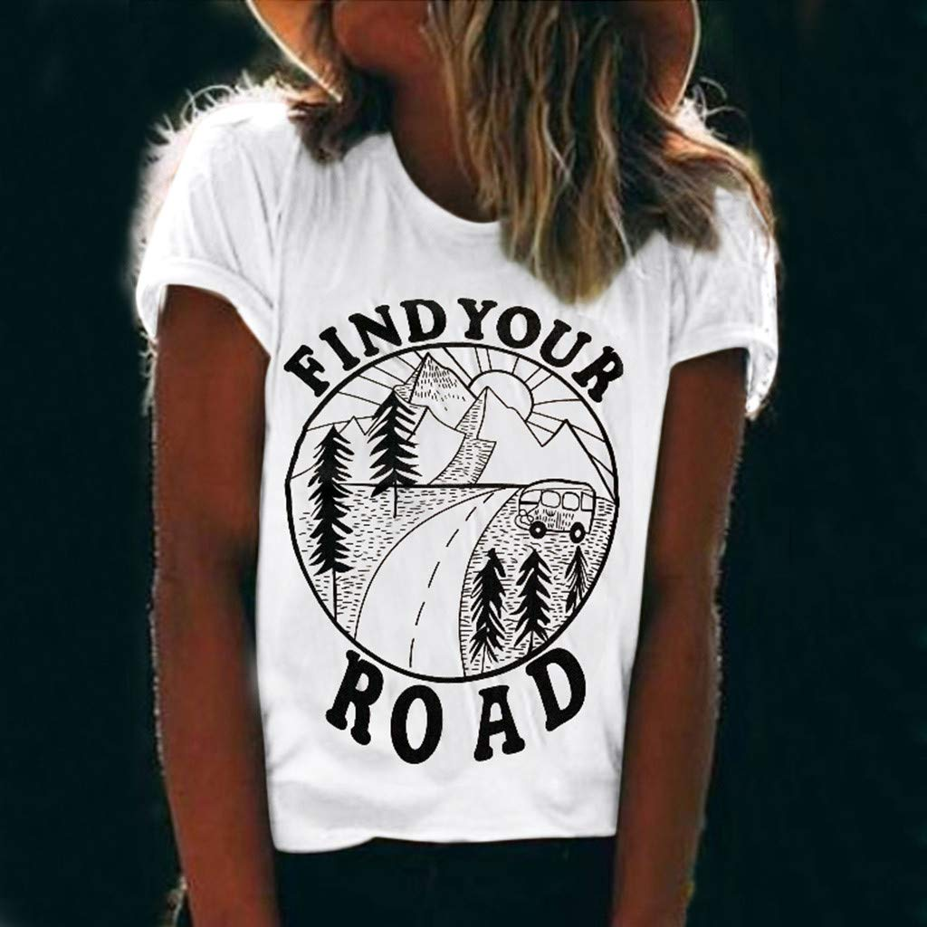 Women Round Neck Printed T Shirt Short Sleeve Casual Sport Daily Soft Solid Color Breathable Fashion Slogan Summer Beach Shirt for Ladies and Girls by LeeMon