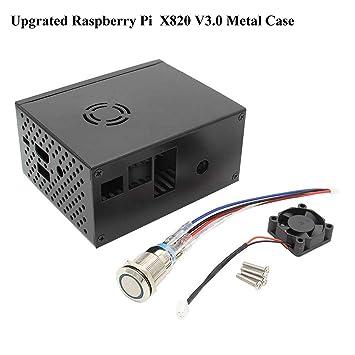 MakerHawk Estuche metálico Raspberry Pi con Ventilador de enfriamiento e Interruptor de Control de energía para Raspberry Pi X820 V3.0 SSD/HDD Placa ...