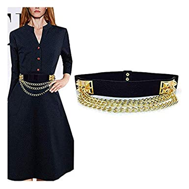 f8b39dbba Famhome Vintage Women Waist Belt Elastic Belt Stretch Waist Strap  Cummerbund Leaf Design Clasp Stretch Waist