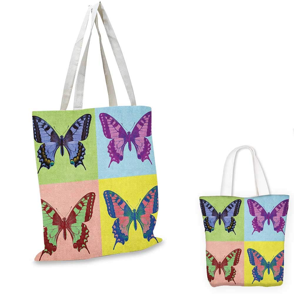 16x18-13 Butterfly canvas messenger bag Pastel Colors with Spring Season Warm Climate Animal Silhouettes Wildlife Scenes canvas beach bag Multicolor