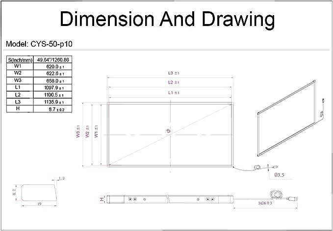 50 Inch Multi-Touch Infrarrojos Touch Marco, visualización táctil ...