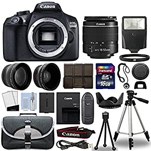 Canon 1300D / Rebel T6 DSLR Camera + 18-55mm 3 Lens Kit + 16GB Top Value Bundle - 2x Telephoto Lens + Wide Angle Lens + 3 Piece Filter Kit + Tripod + Lens Hood + Flash + More! - International Version