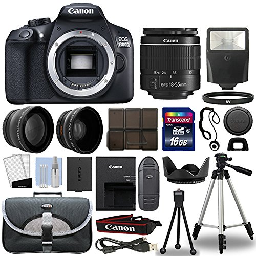 T6 DSLR Camera + 18-55mm 3 Lens Kit + 16GB Top Value Bundle - 2x Telephoto Lens + Wide Angle Lens + 3 Piece Filter Kit + Tripod + Lens Hood + Flash + More! - International Version (Shaped Hard Top)
