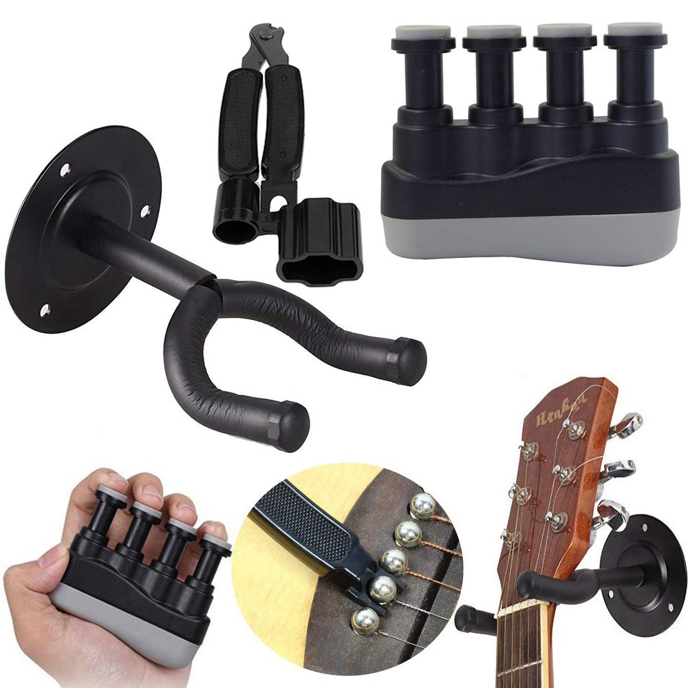 Kit di parti di chitarra con regolabile finger Trainer, 3 in 1 avvolgicorde e cutter, Guitar Hanger Hook Holder Wall Mount Winterworm