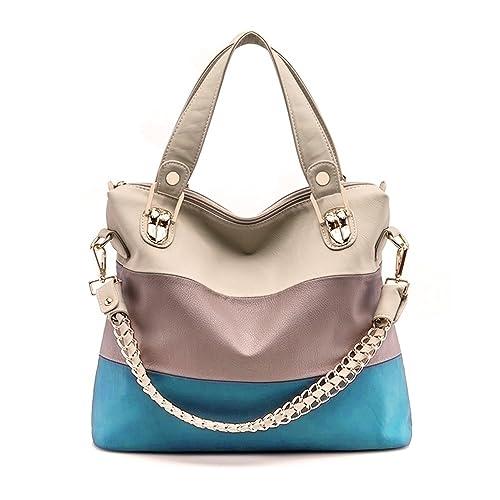 EUBags Women's Fashion PU Leather Splice Crossbody Bags Tote Handbag Shoulder Bag