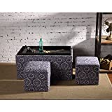 Creative Living 3 Piece Storage Bench and Ottoman Set - Blue