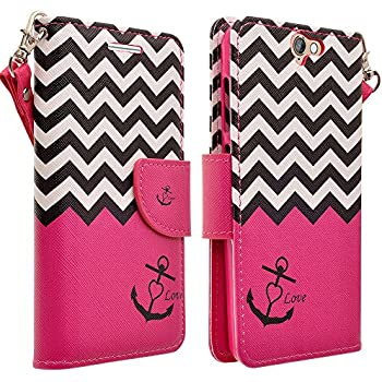 HTC ONE A9 Case, Magnetic Leather Flip Wallet Pouch For HTC ONE A9, Slim Folio Case with Kickstand, 2 Credit Card Slot Wallet Pouch (Hot Pink Anchor)