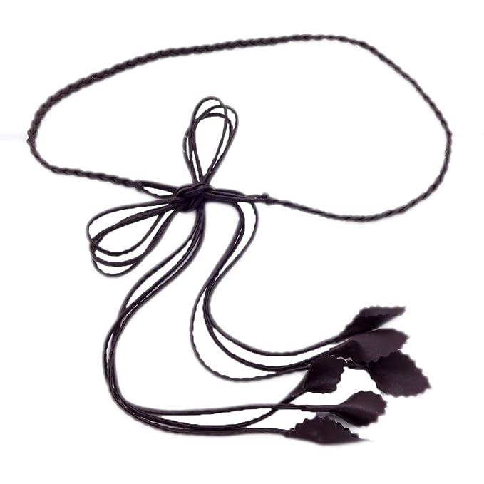 Mujeres Cinturón Trenzado Cintura Cuerda Bellas Cinturón Borlas Pantalones De Vestir Cadena Marrón Cintura Cadena, Brown-S: Amazon.es: Ropa y accesorios