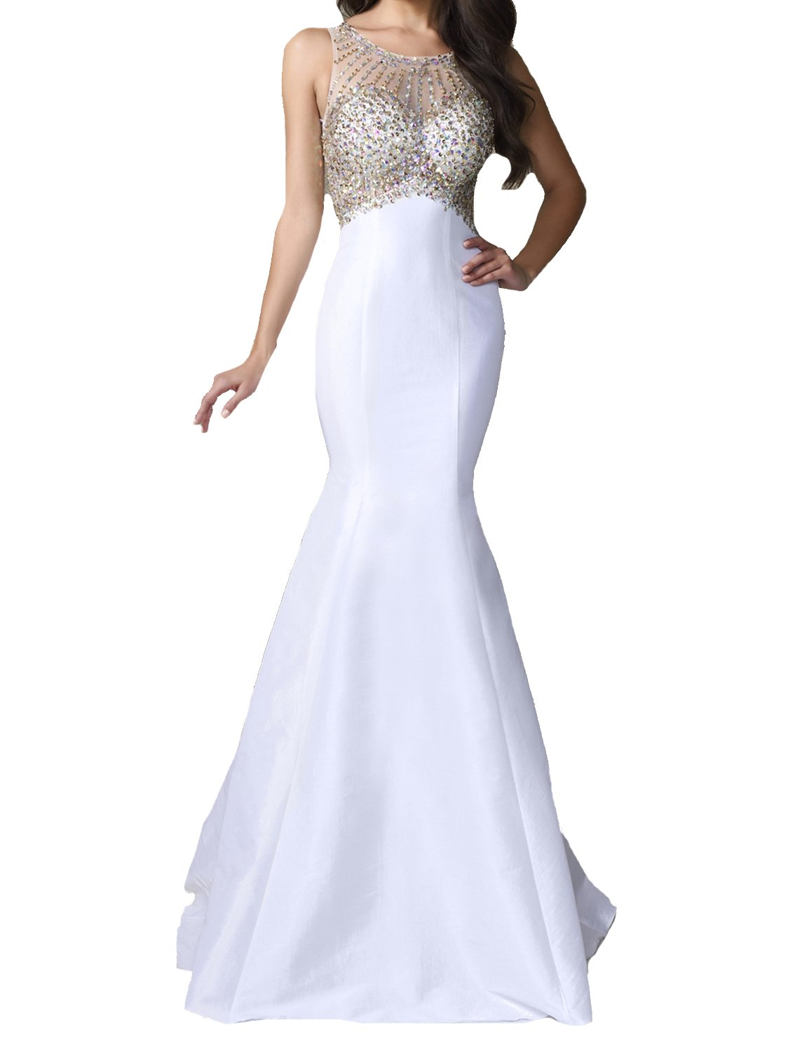 SeasonMall Womens Prom Dresses Long 2016 Scoop Sleeveless Mermaid Satin With Beading Sweep Train Size 0 White by SeasonMall