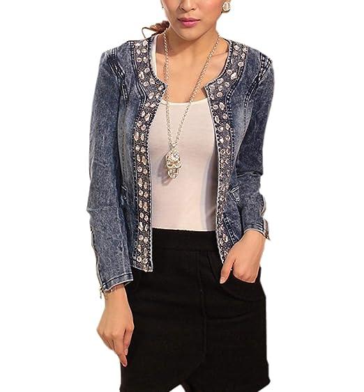 1228e5cf502b98 Damen Individuelle Perlen Spitze Nähen war Dünn Jeansjacke Mantel Outwear  Kurz Denim Jacke Spitzenbolero Tops (