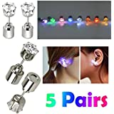 AYAMAYA 5 Pairs Changing Color Christmas Light Up LED Earrings Studs Flashing Blinking Earrings Dance Party Accessories Mothers Day Gifts for Mom Kids Him Her Men Women