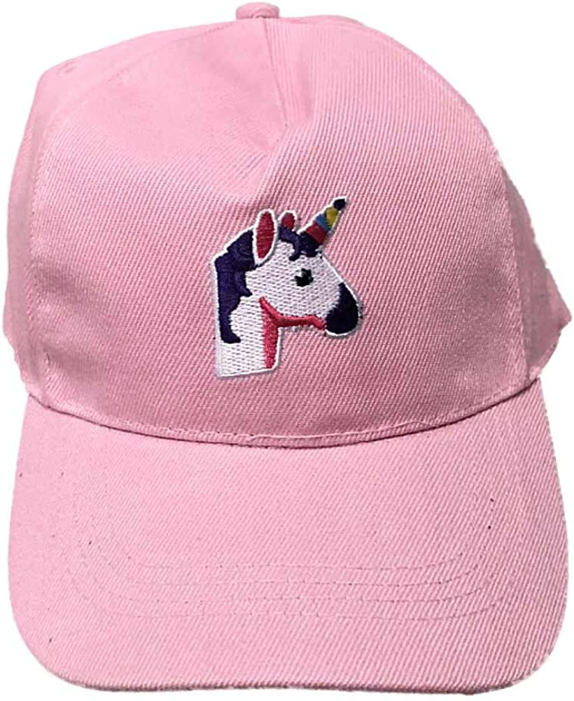 Girls Baseball Cap with Embroidered Unicorn Pink W//Purple Hair