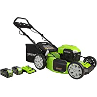 "Greenworks 40V 21"" Brushless (Smart Pace) Self-Propelled Lawn Mower, 2 x 4Ah USB Batteries and Charger Included…"
