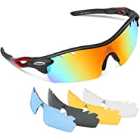 HODGSON Glasses Polarized for Men Women Sports with Fancy Glasses Case and 5 Interchangeable Lenses for Cycling Baseball Running Fishing Driving Golf Glasses, Tr90 Unbreakable