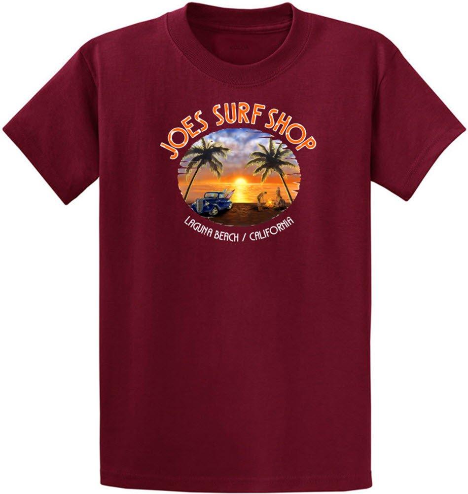 Joe 's Surf ShopグラフィックのヘビーウェイトコットンTシャツレギュラー、Big and Tall B071FP98ST S|Cardinal With Sunset Logo Cardinal With Sunset Logo S