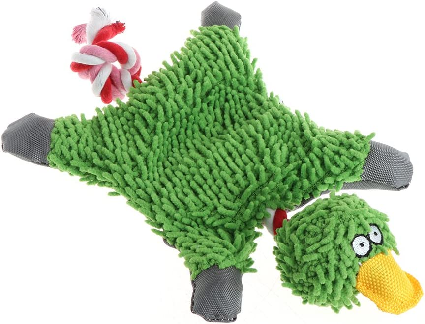 Kalttoy Pet Supply Cute Papa Duck Plush Dog Toy with Rope GREEN