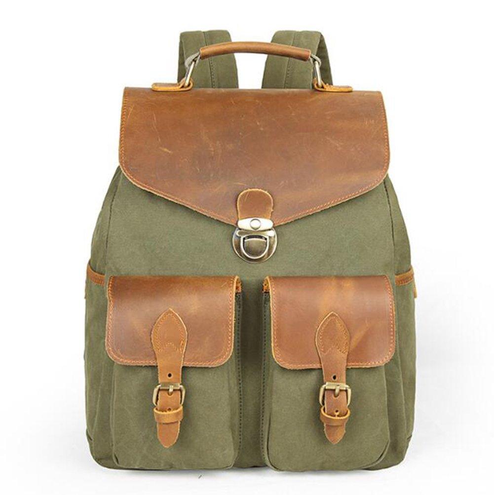 kimsaiメンズレジャーshoulderbackpackアウトドアバッグ旅行バックパックキャンバスバックパックDurable Heavy Duty Multipurpose Daypack,グリーン   B07FMXXVM6