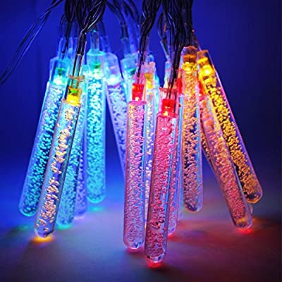 Water Bubble Stick Battery Operated LED Christmas Lights - 2 Work Modes RGBY Christmas String Lights - 7.3ft Length, 20pcs Columns for Christmas, Holiday, Party, Event Decorative Lighting